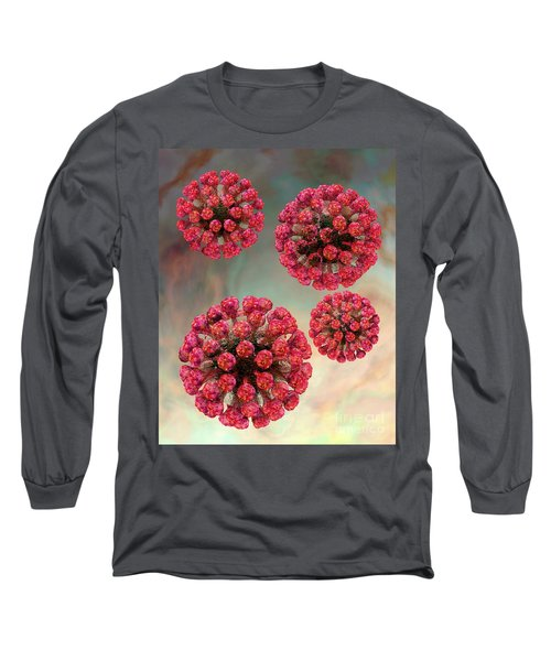 Rubella Virus Particles Long Sleeve T-Shirt by Russell Kightley