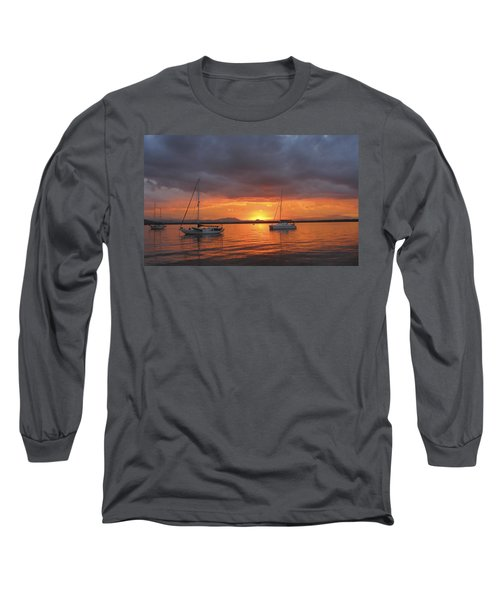 Long Sleeve T-Shirt featuring the digital art Sailboats At Anchor by Anne Mott