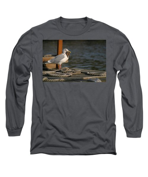 Long Sleeve T-Shirt featuring the photograph Seagull Swallows Starfish by Kym Backland