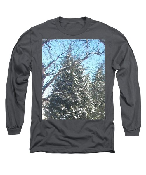 Long Sleeve T-Shirt featuring the photograph Snow Sprinkled Pine by Pamela Hyde Wilson