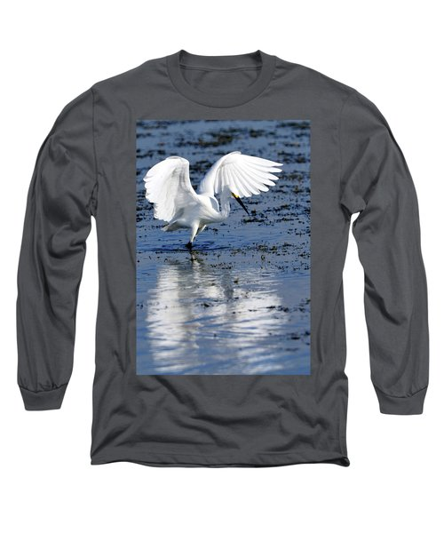 Snowy Egret Fishing Long Sleeve T-Shirt