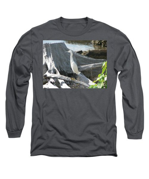 Long Sleeve T-Shirt featuring the photograph Snowy Egret by Laurel Best