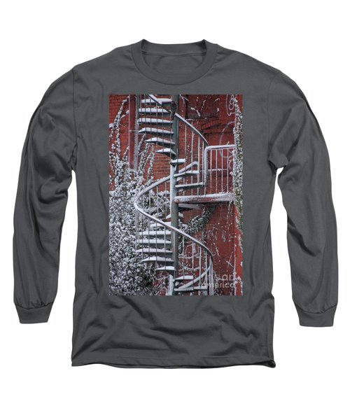 Spiral Staircase With Snow And Cooper's Hawk Long Sleeve T-Shirt