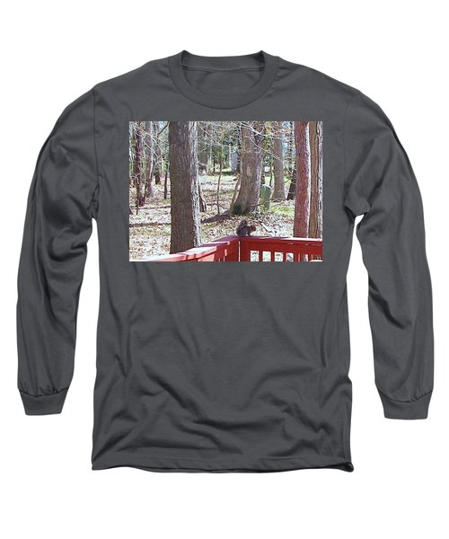 Long Sleeve T-Shirt featuring the photograph Squirrel Waiting by Pamela Hyde Wilson