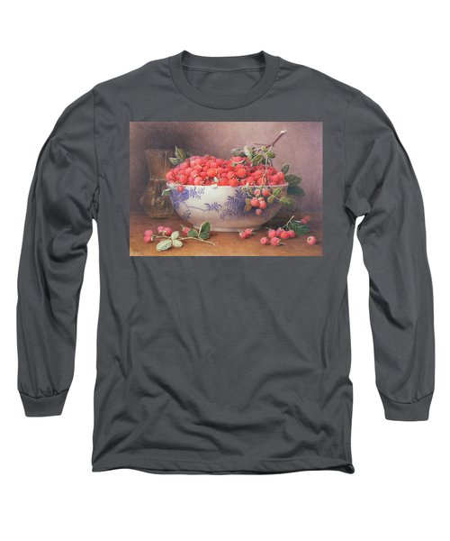 Still Life Of Raspberries In A Blue And White Bowl Long Sleeve T-Shirt