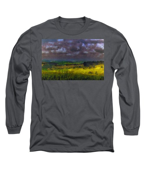 Storm Clouds Over Meadow Long Sleeve T-Shirt