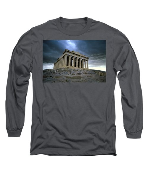 Storm Over The Parthenon Long Sleeve T-Shirt