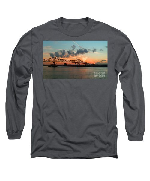 Sunset On The Mississippi  Long Sleeve T-Shirt by Lydia Holly