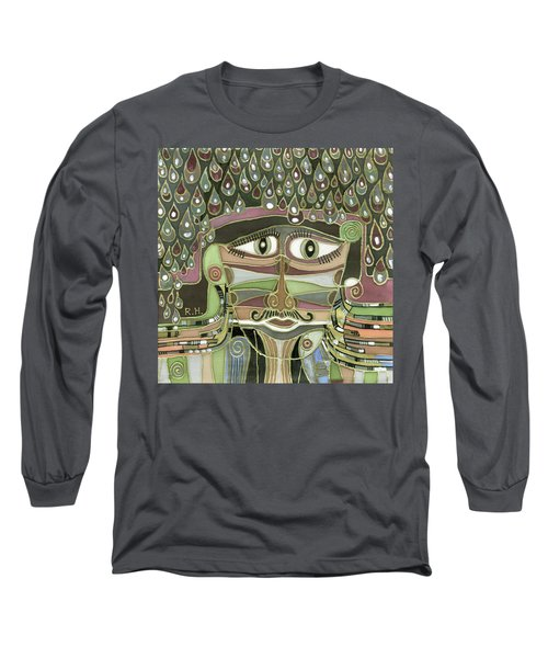 Surprize Drops Surrealistic Green Brown Face With  Liquid Drops Large Eyes Mustache  Long Sleeve T-Shirt by Rachel Hershkovitz