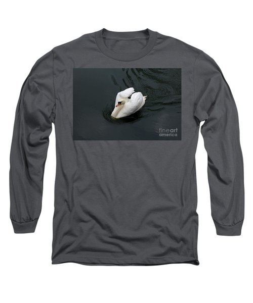 Long Sleeve T-Shirt featuring the photograph Swan On Black Water by Les Palenik