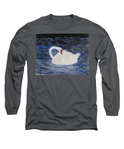 Long Sleeve T-Shirt featuring the painting Swan  by Sonali Gangane