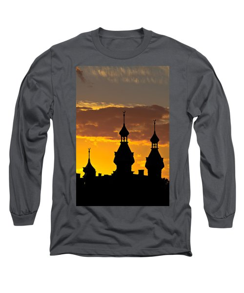 Long Sleeve T-Shirt featuring the photograph Tampa Bay Hotel Minarets At Sundown by Ed Gleichman