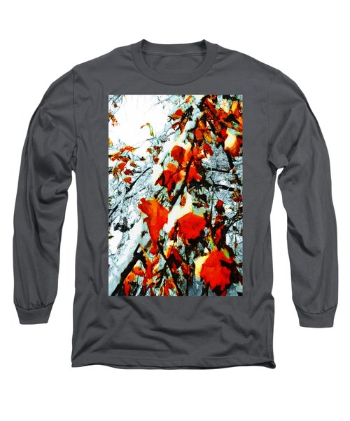 Long Sleeve T-Shirt featuring the photograph The Autumn Leaves And Winter Snow by Steve Taylor