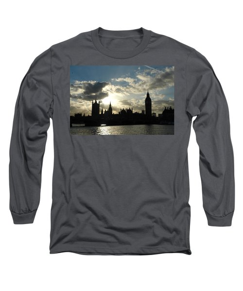 The Outline Of Big Ben And Westminster And Other Buildings At Sunset Long Sleeve T-Shirt