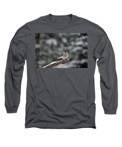 Long Sleeve T-Shirt featuring the photograph Titmouse Endures Snowstorm by Mike Martin