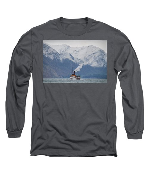 Tss Earnslaw Steamboat Against The Southern Alps Long Sleeve T-Shirt