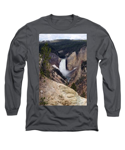 Vertical Lower Falls Of Yellowstone Long Sleeve T-Shirt by Living Color Photography Lorraine Lynch