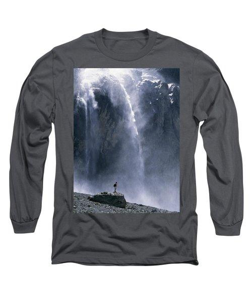 Walker Beneath Waterfall In The Cirque Long Sleeve T-Shirt