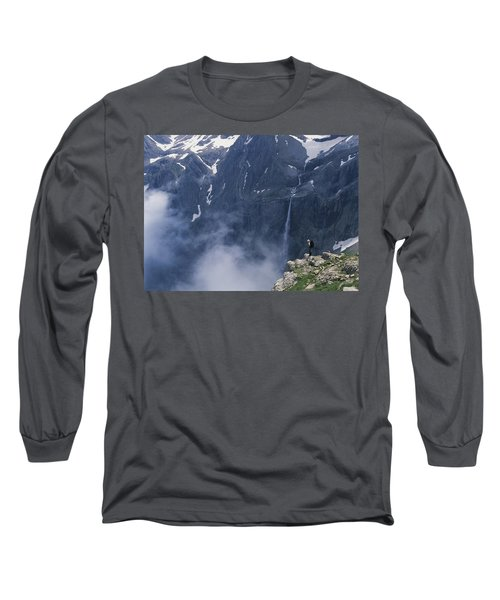 Walker Looking Over Waterfall At Cirque Long Sleeve T-Shirt