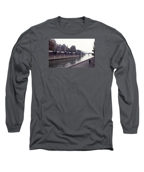 Walking The Dog Along The Seine Long Sleeve T-Shirt