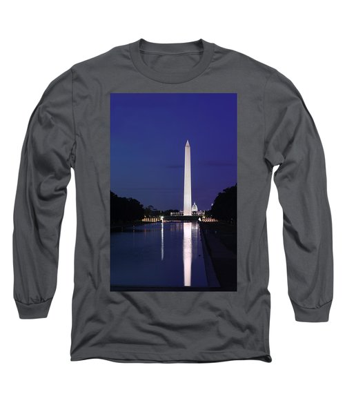 Washington Monument At Sunset Long Sleeve T-Shirt