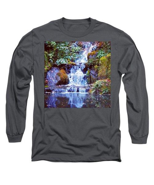 Waterfall - Portland Japanese Garden Portland Or Long Sleeve T-Shirt