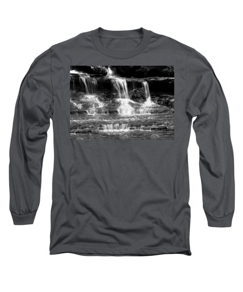 Waterfall Trio At Mcconnells Mill State Park In Black And White Long Sleeve T-Shirt