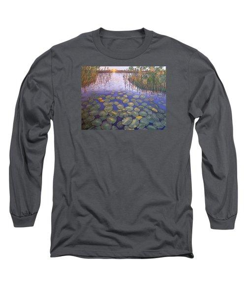 Long Sleeve T-Shirt featuring the painting Waterlillies South Africa by Karen Zuk Rosenblatt