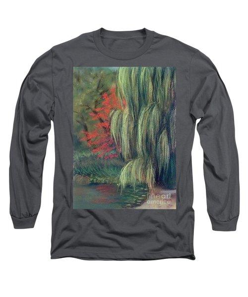 Long Sleeve T-Shirt featuring the drawing Willow Tree - Hidden Lake Gardens -tipton Michigan by Yoshiko Mishina