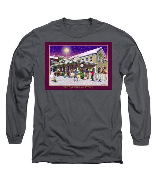 Winter At Zebs General Store In North Conway Nh Long Sleeve T-Shirt