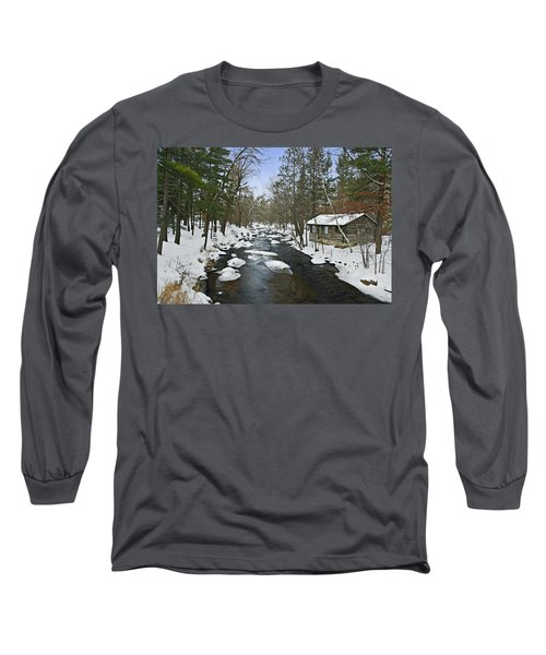 Long Sleeve T-Shirt featuring the photograph Winter Saxeville Log Cabin by Judy  Johnson