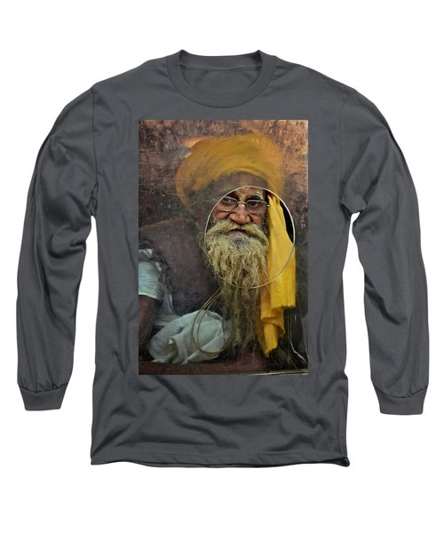 Yellow Turban At The Window Long Sleeve T-Shirt by Valerie Rosen