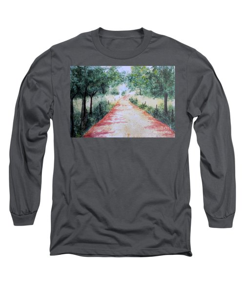 A Country Road Long Sleeve T-Shirt by Vicki  Housel