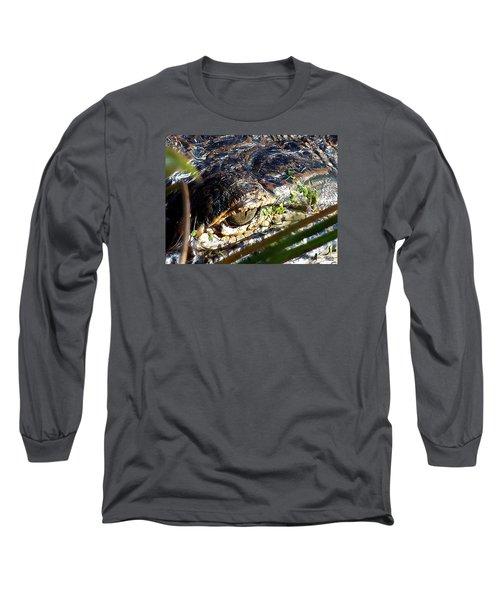 Long Sleeve T-Shirt featuring the photograph  Alligator Eye  by Chris Mercer