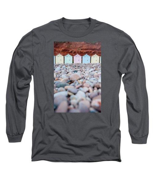 Beach Huts And Pebbles Long Sleeve T-Shirt