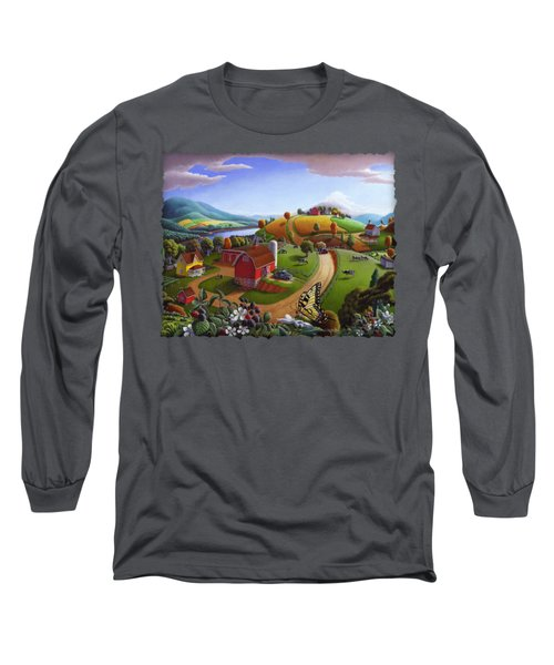Folk Art Blackberry Patch Rural Country Farm Landscape Painting - Blackberries Rustic Americana Long Sleeve T-Shirt