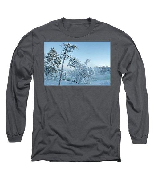 Magic Blue  Storforsen Waterfall  Long Sleeve T-Shirt