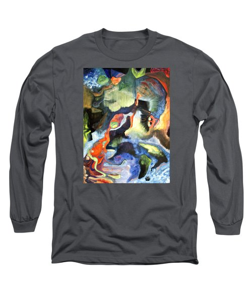Long Sleeve T-Shirt featuring the painting 01313 Big Bang by AnneKarin Glass