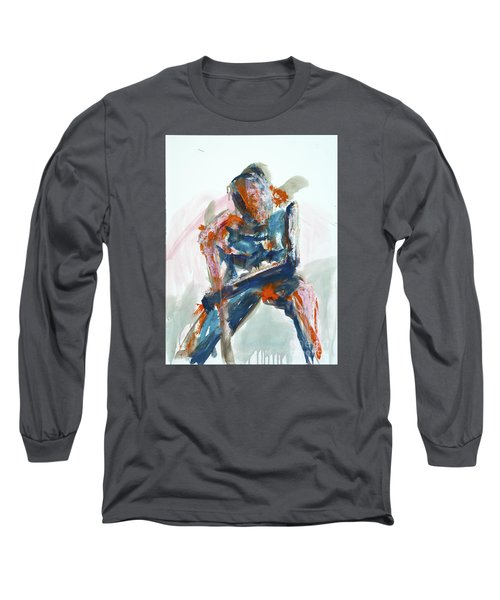 Long Sleeve T-Shirt featuring the painting 04954 Athlete by AnneKarin Glass