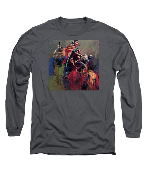 062 Jima Marine Memorial Washington Dc Long Sleeve T-Shirt by Maryam Mughal