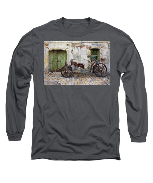A Carriage On Crisologo Street 2 Long Sleeve T-Shirt by Joey Agbayani