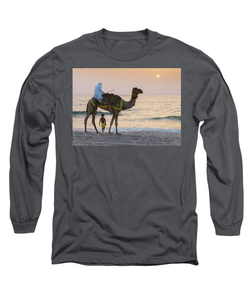 Little Boy Stares In Amazement At A Camel Riding On Marina Beach In Dubai, United Arab Emirates -  Long Sleeve T-Shirt
