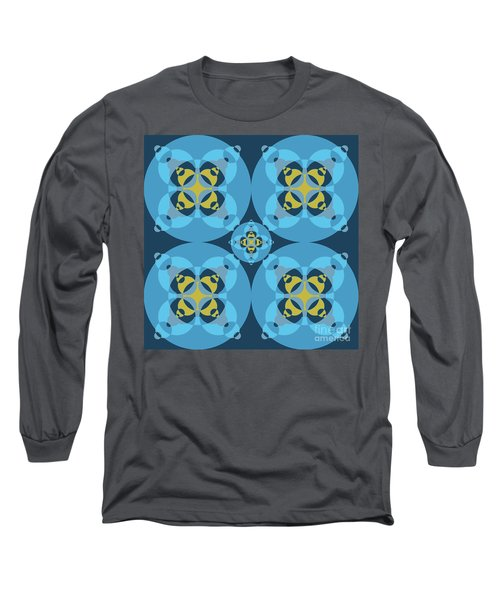 Abstract Mandala Cyan, Dark Blue And Yellow Pattern For Home Decoration Long Sleeve T-Shirt