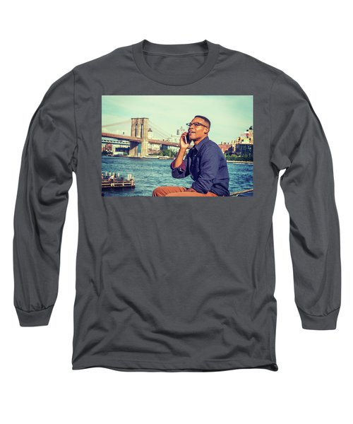 African American Man Traveling In New York Long Sleeve T-Shirt
