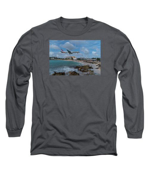 American Airlines Landing At St. Maarten Long Sleeve T-Shirt