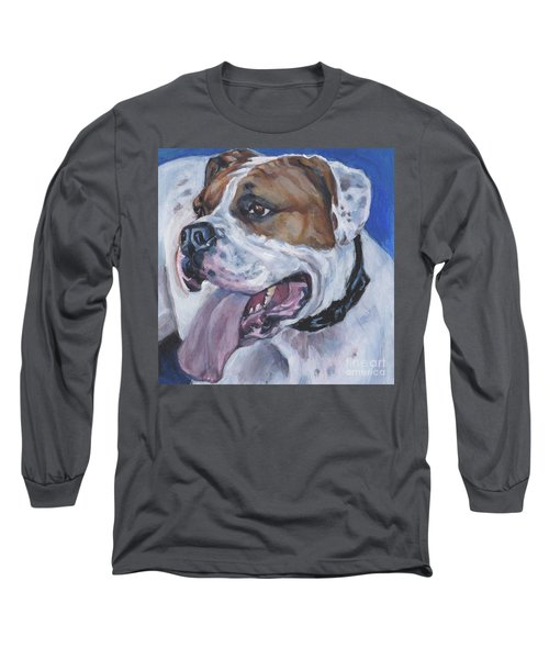 Long Sleeve T-Shirt featuring the painting American Bulldog by Lee Ann Shepard