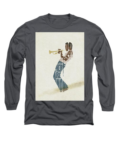 Long Sleeve T-Shirt featuring the digital art Miles Davis Typography Art by Inspirowl Design