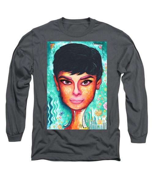 Audrey Hepburn Colorful Pop Art Style Original Painting Long Sleeve T-Shirt
