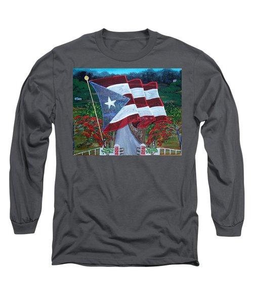 Bandera De Puerto Rico Long Sleeve T-Shirt