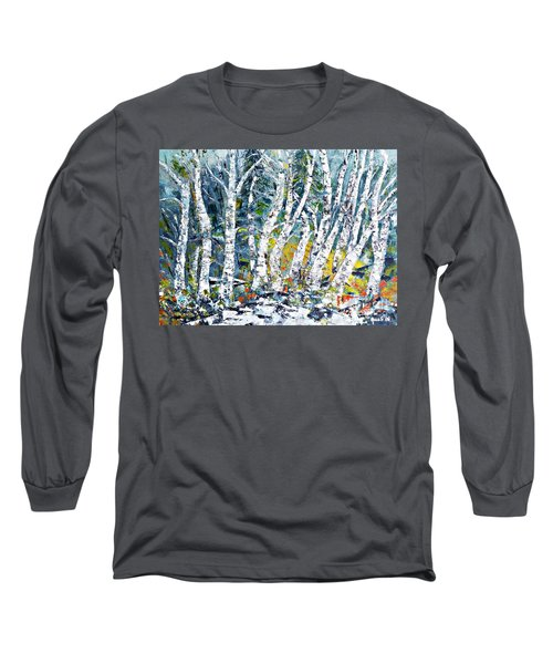Birches Pond Long Sleeve T-Shirt by AmaS Art
